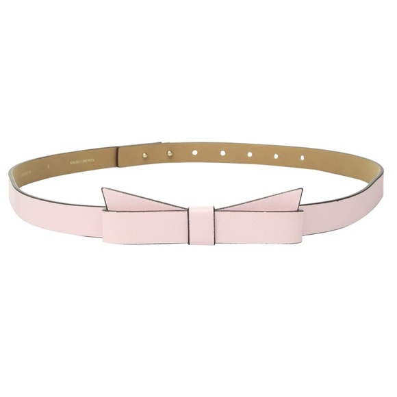Kate Spade New York Womens 3//4 Pebble Leather Bow Belt Pastry Pink XL